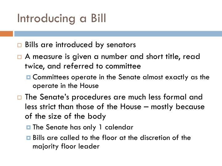 Introducing a bill