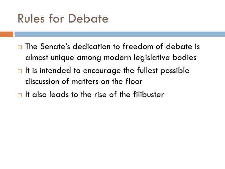 Rules for Debate