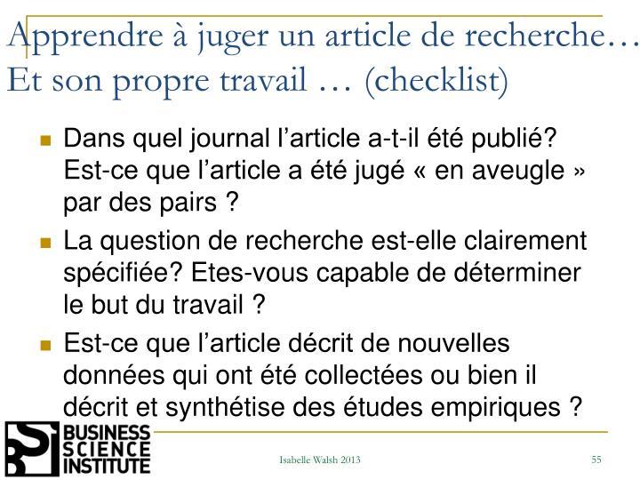Apprendre à juger un article de recherche…. Et son propre travail … (checklist)