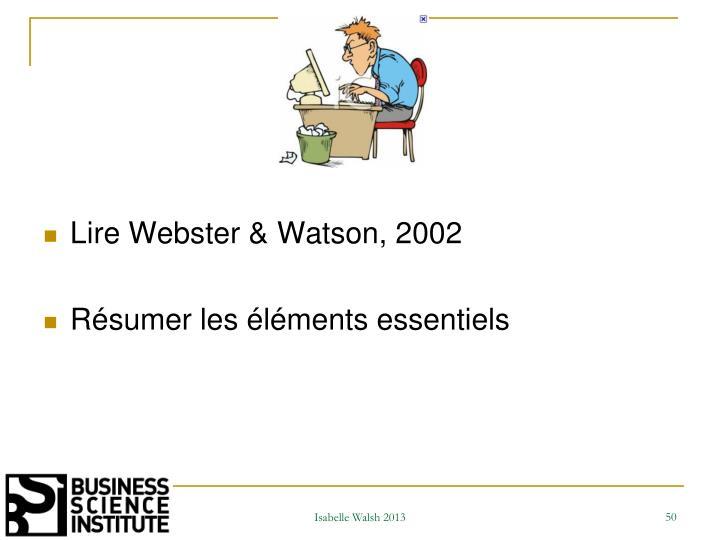 Lire Webster & Watson,