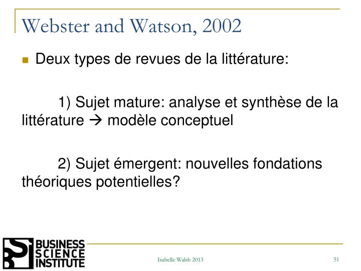 Webster and Watson, 2002