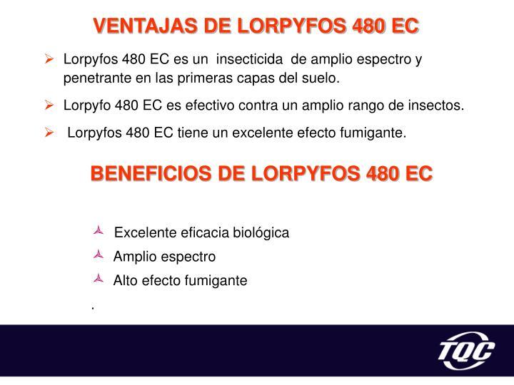 VENTAJAS DE LORPYFOS 480 EC