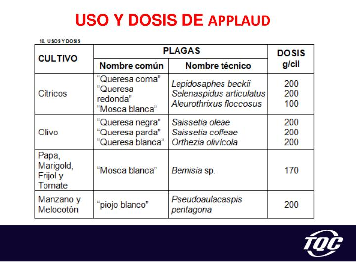 USO Y DOSIS DE