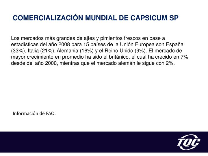 COMERCIALIZACIÓN MUNDIAL DE CAPSICUM SP