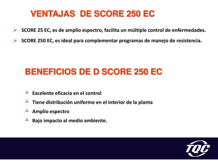 VENTAJAS  DE SCORE 250 EC