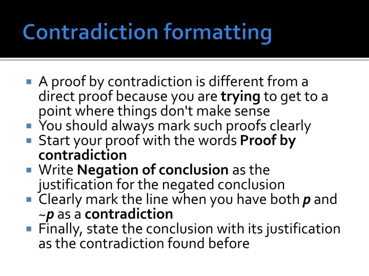 Contradiction formatting