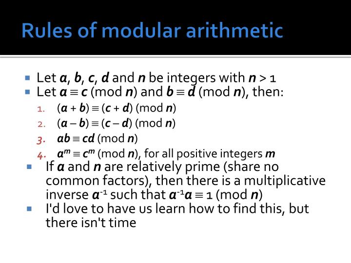 Rules of modular arithmetic
