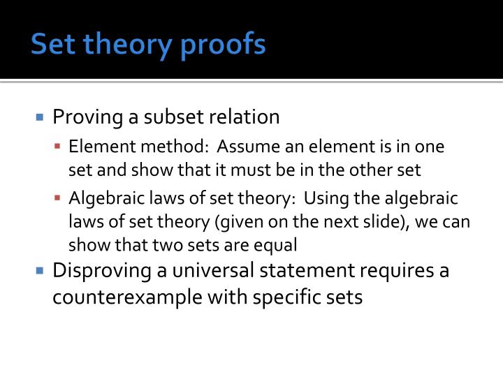Set theory proofs