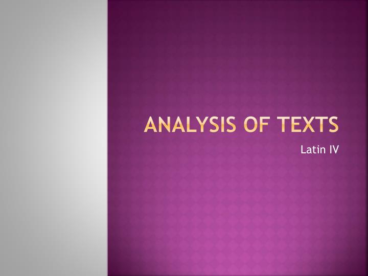 Analysis of texts