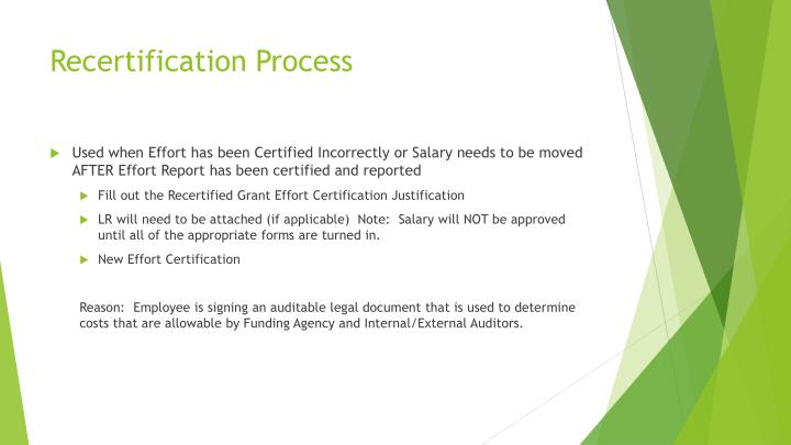 Recertification Process