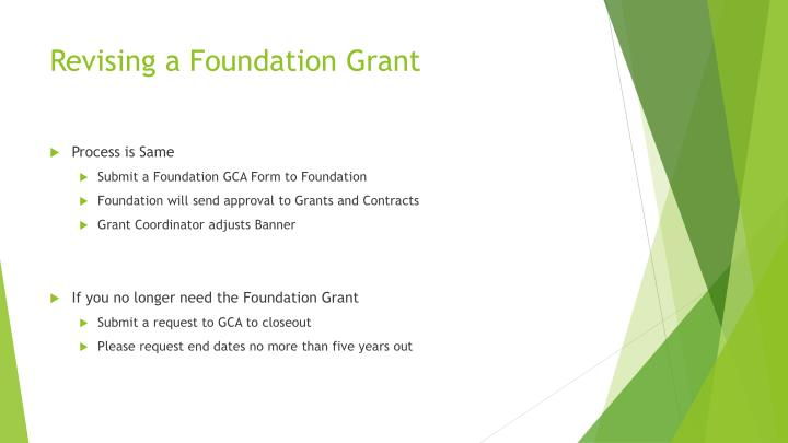 Revising a Foundation Grant
