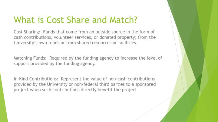 What is Cost Share and Match?