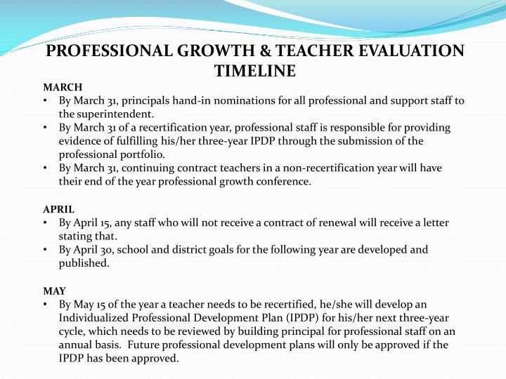 PROFESSIONAL GROWTH & TEACHER EVALUATION TIMELINE