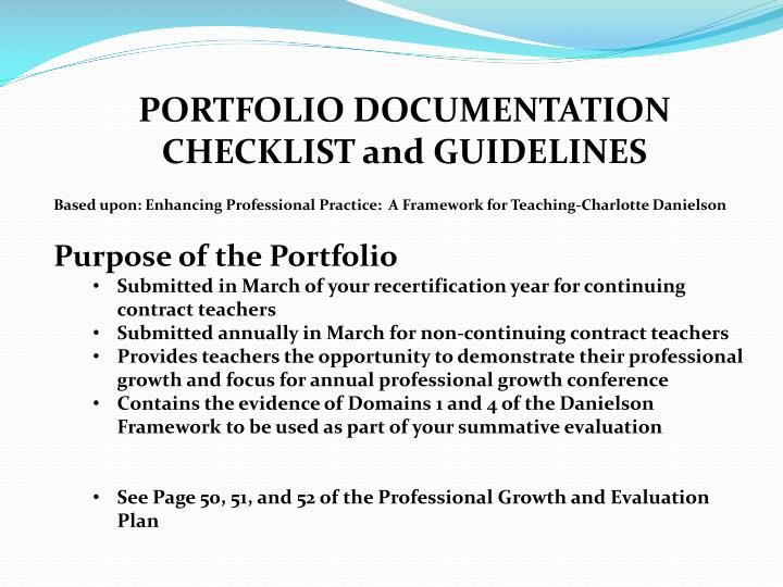 PORTFOLIO DOCUMENTATION CHECKLIST and