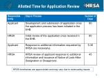 allotted time for application review