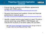 preparing a successful application continued