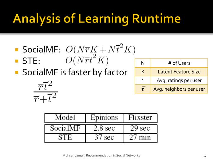 Analysis of Learning Runtime