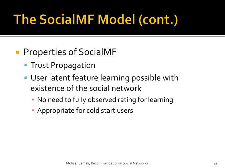 The SocialMF Model (cont.)