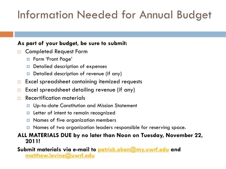 Information Needed for Annual Budget