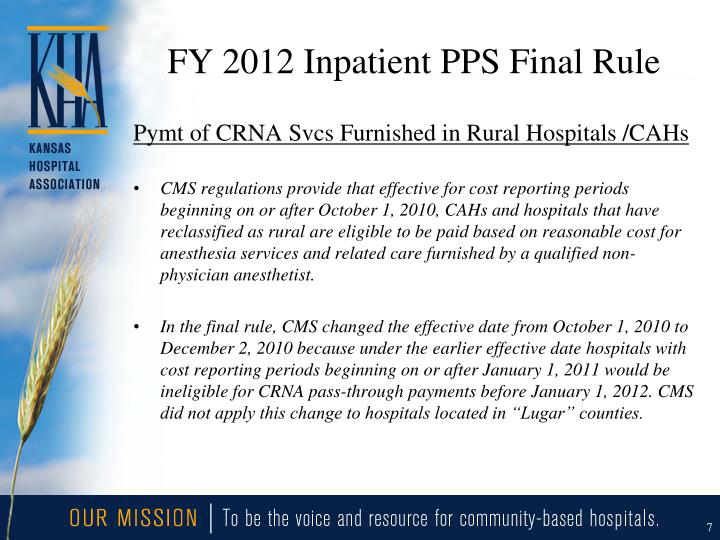 FY 2012 Inpatient PPS Final Rule
