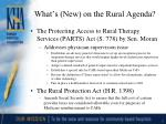 what s new on the rural agenda