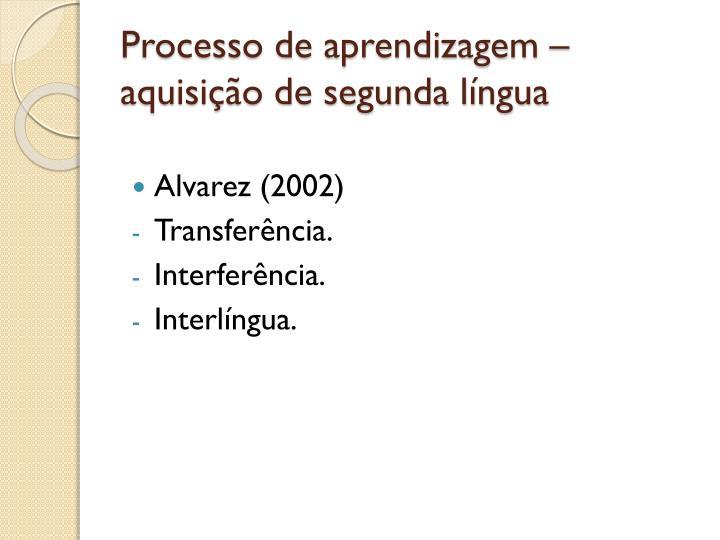 Processo de aprendizagem – aquisição de segunda língua