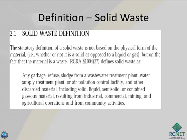 Definition – Solid Waste