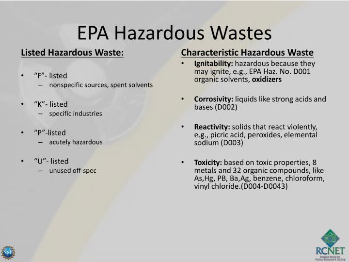 EPA Hazardous Wastes