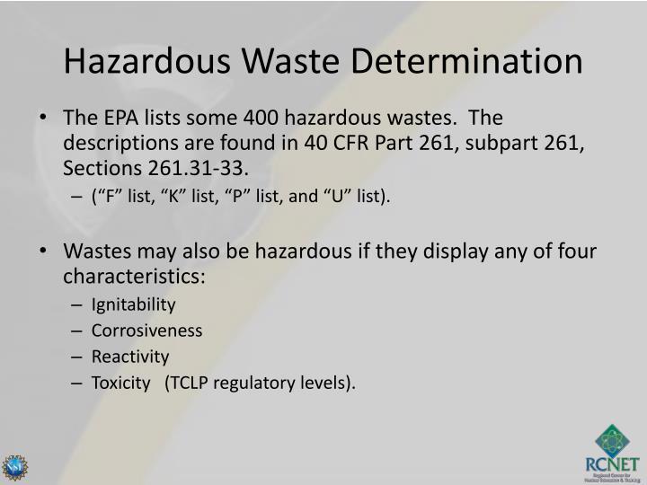 Hazardous Waste Determination