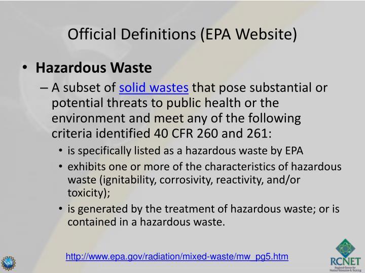 Official Definitions (EPA Website)