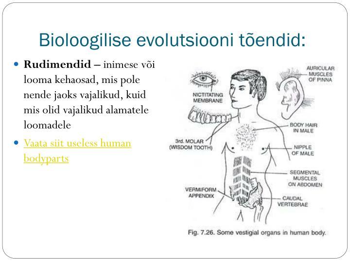 Bioloogilise evolutsiooni tõendid: