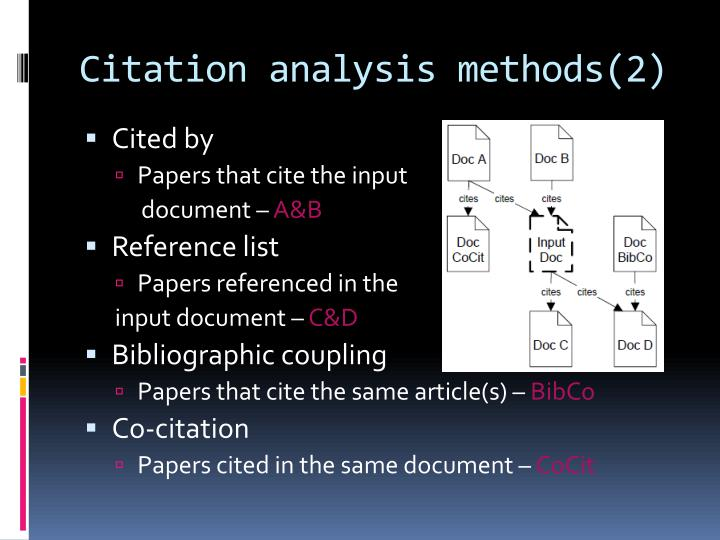 Citation analysis methods(2)