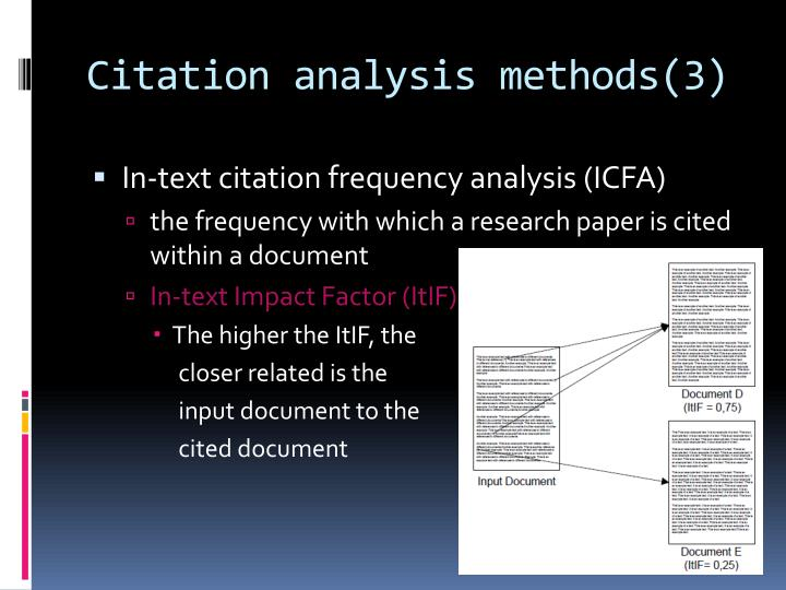 Citation analysis methods(3)