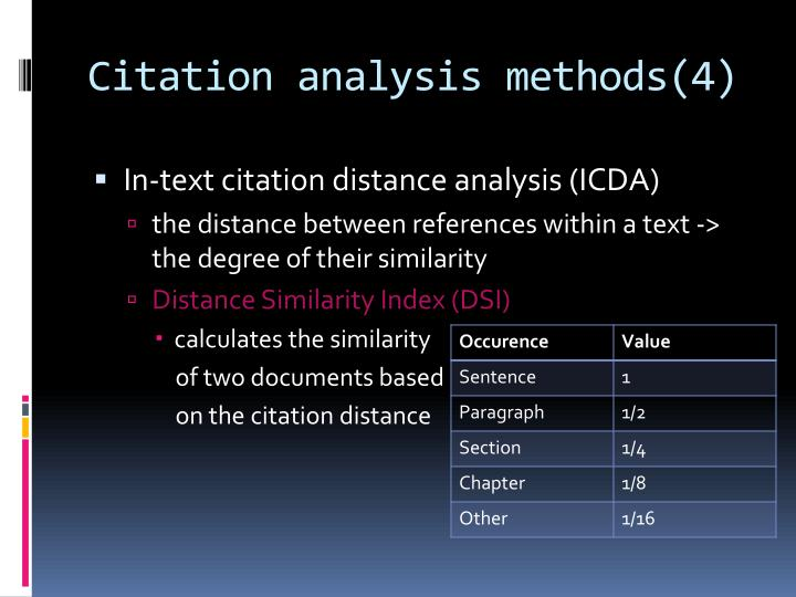 Citation analysis methods(4)