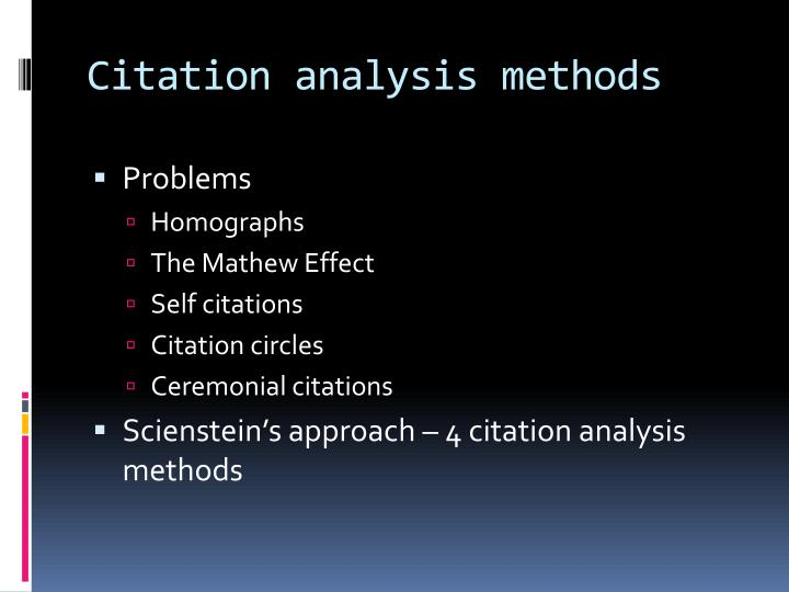 Citation analysis methods