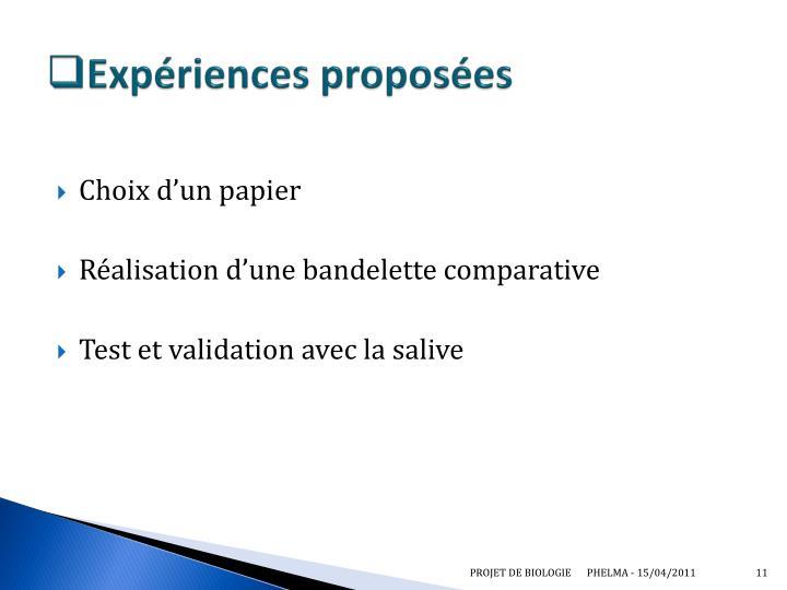Expériences proposées
