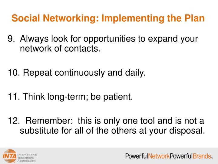 Social Networking: Implementing the Plan