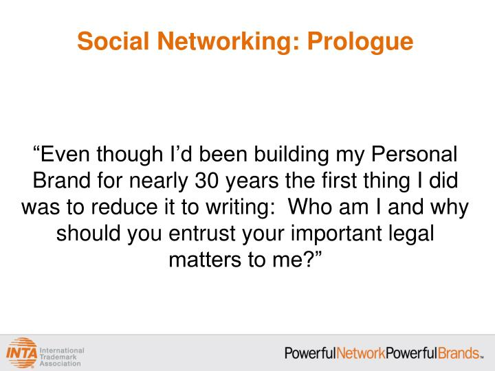 Social networking prologue