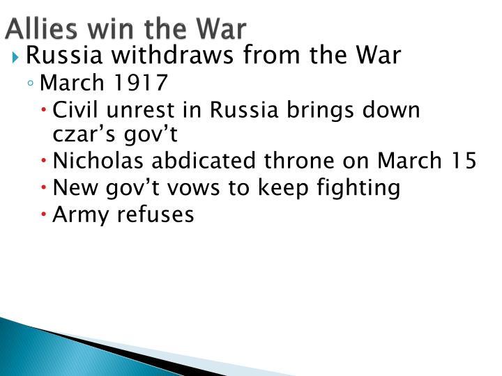 Allies win the War