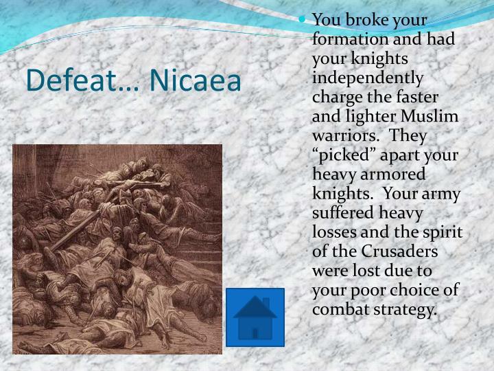 Defeat… Nicaea