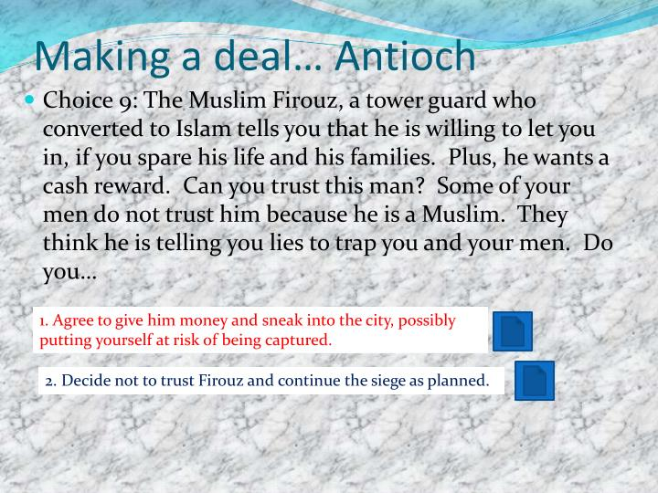 Making a deal… Antioch