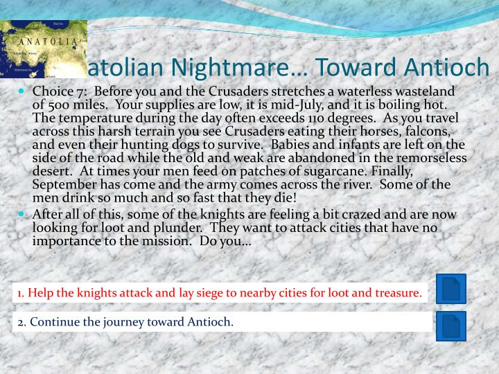 The Anatolian Nightmare… Toward Antioch