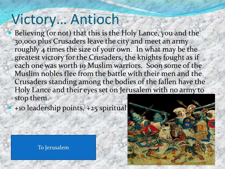 Victory… Antioch