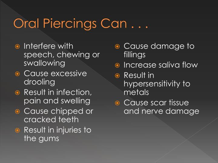 Oral Piercings Can . . .
