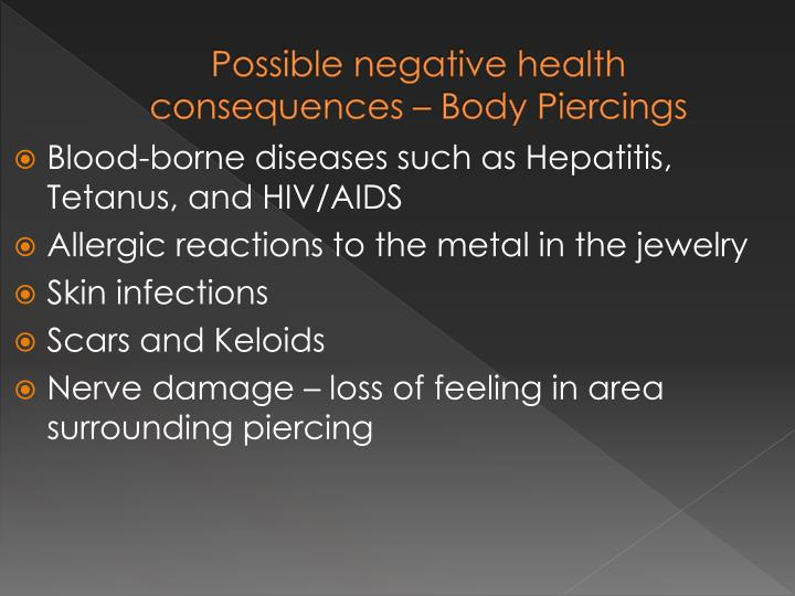 Possible negative health consequences – Body Piercings