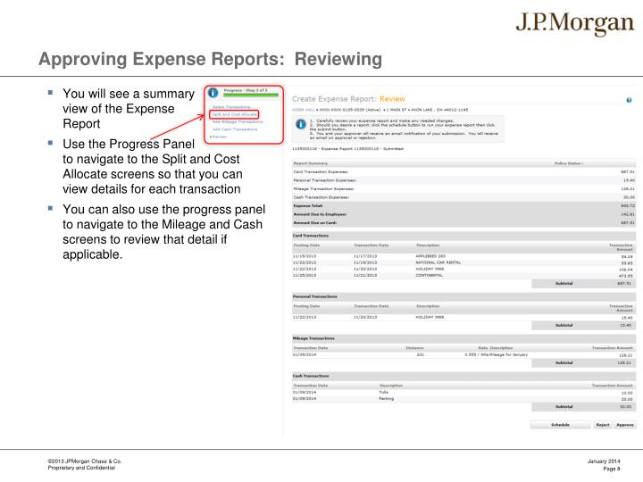 Approving Expense Reports:  Reviewing