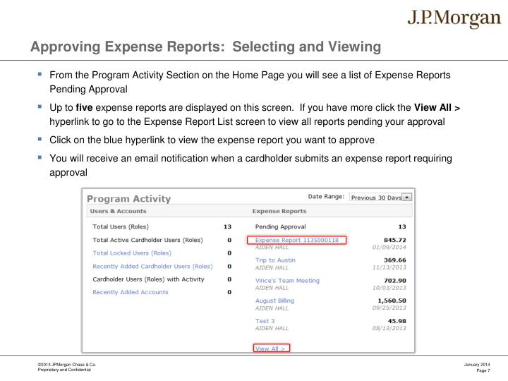 Approving Expense Reports:  Selecting and Viewing