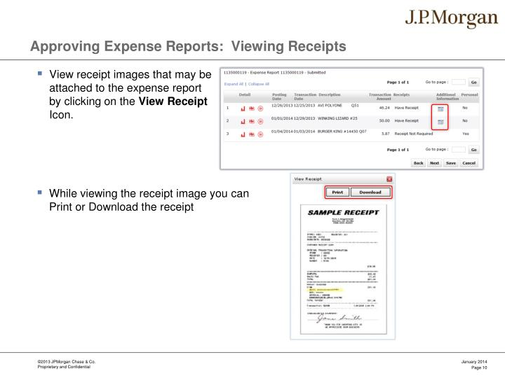 Approving Expense Reports:  Viewing Receipts