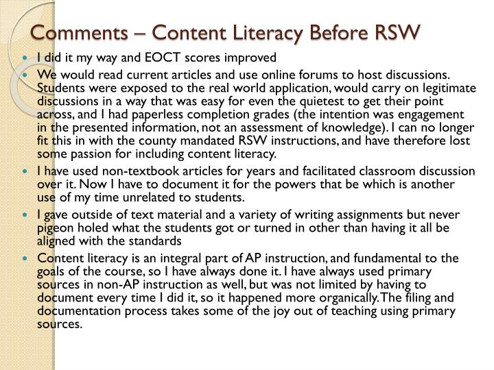 Comments – Content Literacy Before RSW