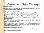 comments major challenges